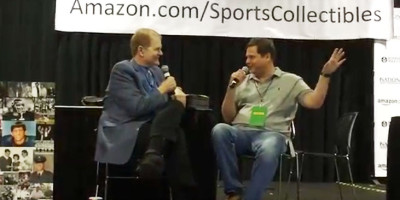 Chet talks to Doug Buffone, Jr. at the 2015 National Sports Collectors Convention.